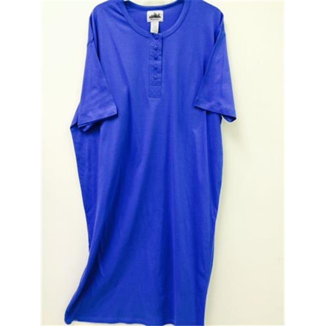 Matropolitan 4269 Henley Night Shirt, Royal - Size 1X-3X