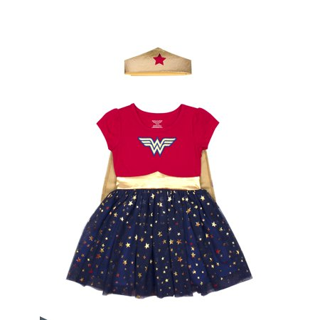 Wonder Woman Costume Tutu Dress with Headband (Toddler