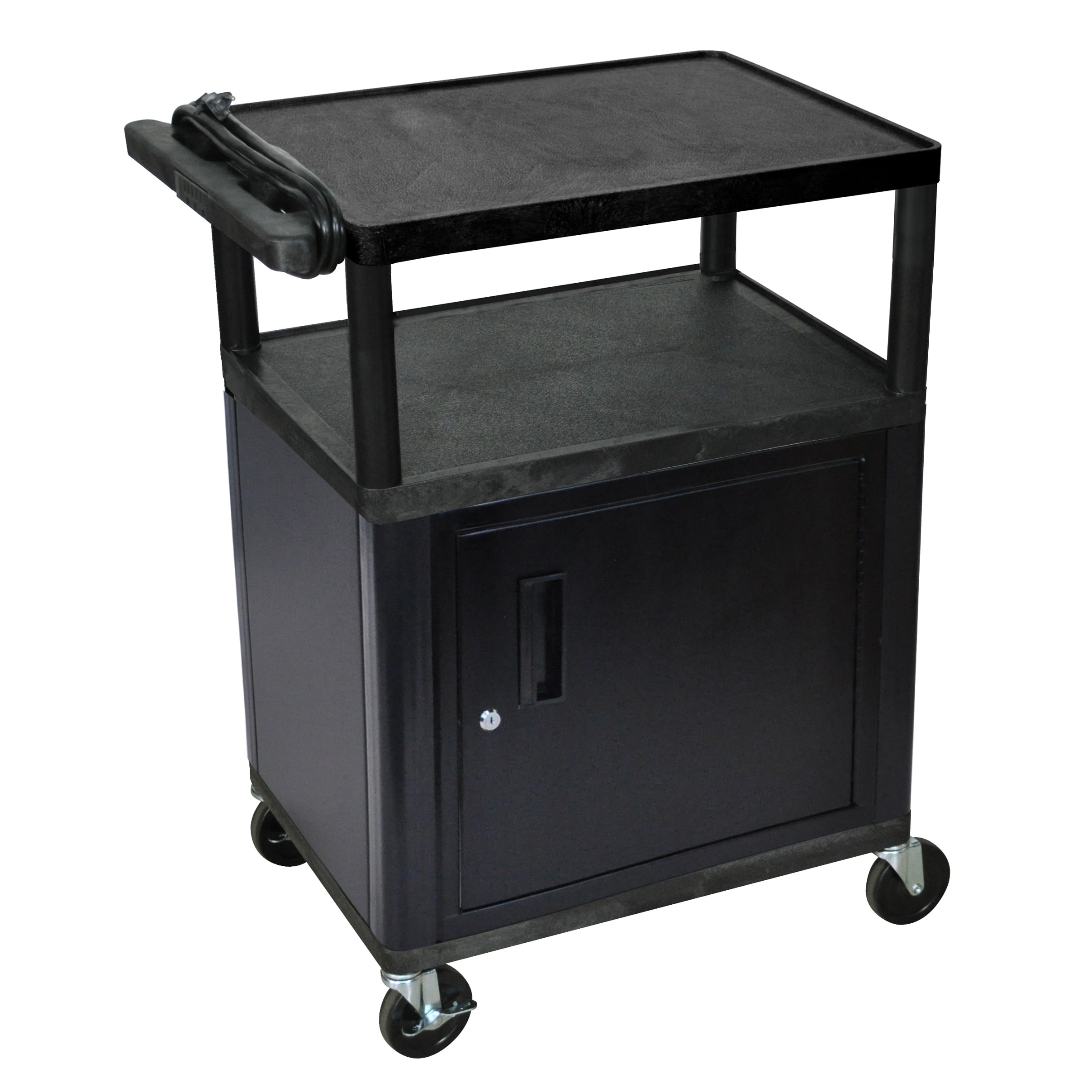 Luxor  Mobile Black Presentation 3-shelf Electric AV Cart With Lockable Storage Cabinet