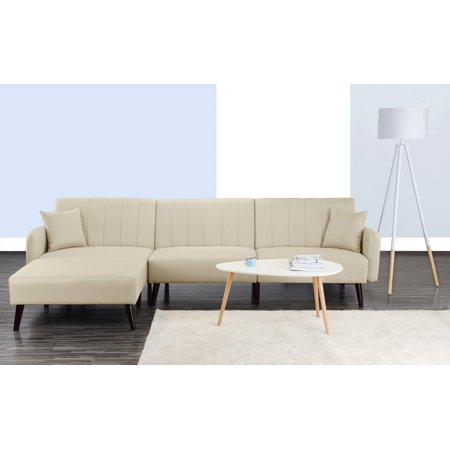 Modern Style Linen Fabric Sleeper Futon Sofa, Living Room L Shape Sectional Couch with Reclining Backrest and Chaise Lounge (Beige)