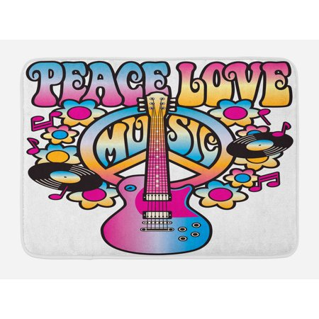 Groovy Bath Mat, Peace Love Music Text with Peace Symbol Guitar Records Flowers Musical Notes, Non-Slip Plush Mat Bathroom Kitchen Laundry Room Decor, 29.5 X 17.5 Inches, Blue Pink Yellow, Ambesonne (Slip Mat Record)
