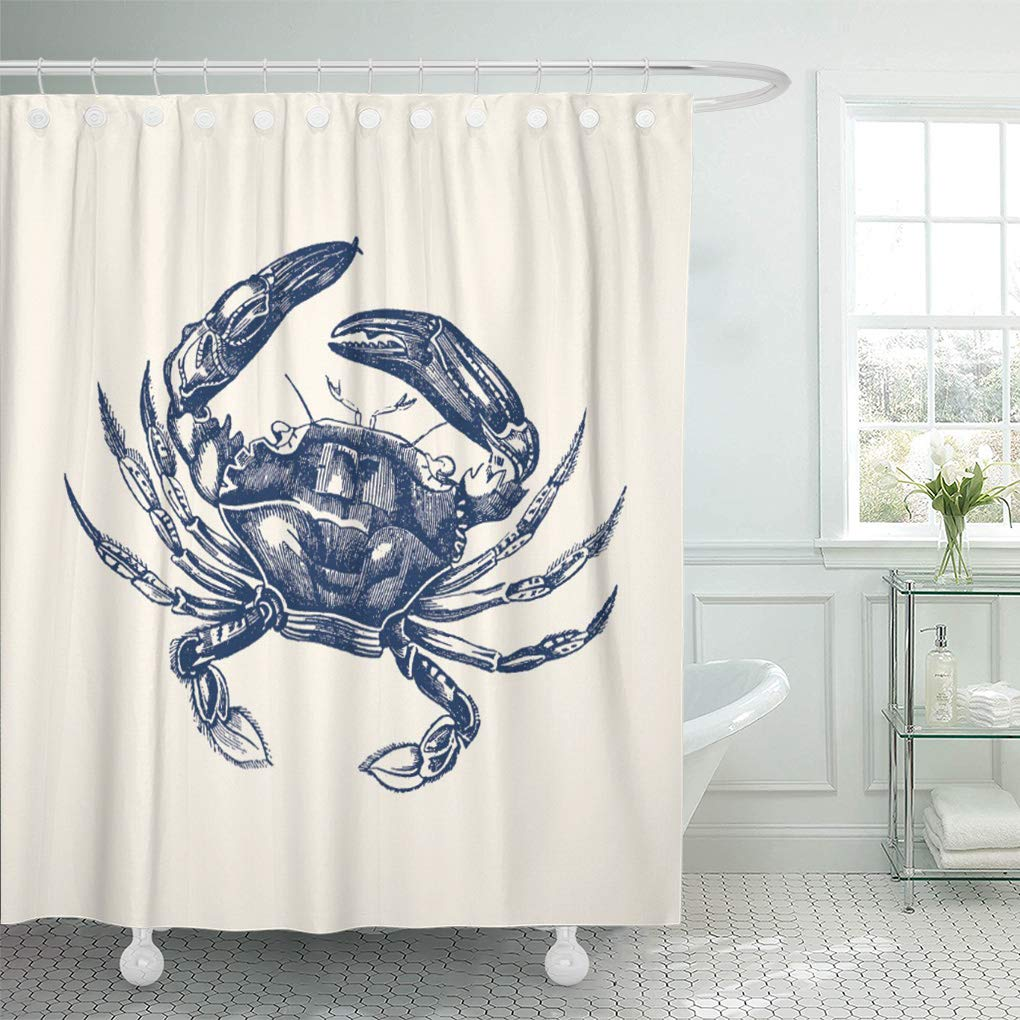 CYNLON Crustacean Vintage Crab Blue on Fish Ocean Beach Bathroom Decor Bath  Shower Curtain 8x8 inch - Walmart.com