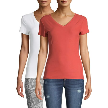 No Boundaries Juniors' Short Sleeve Brushed V-Neck T-Shirt, 2-Pack Selena Juniors T-shirts