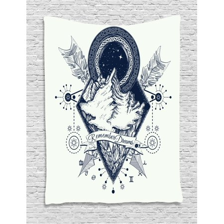 Adventure Tapestry, Mountains in Boho Tattoo Style with Crossed Arrows and Astrological Symbols, Wall Hanging for Bedroom Living Room Dorm Decor, 60W X 80L Inches, Dark Blue White, by Ambesonne - Astrological Tattoos