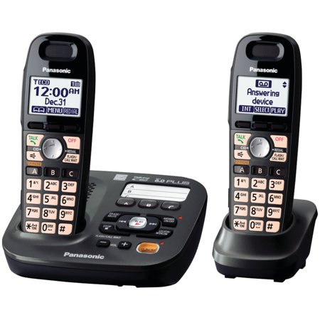 Panasonic 2 Handsets Expandable Cordless Phone with Easy-Read (Phone With Best Graphics)