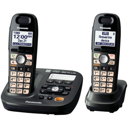 Bluetooth Digital Cordless Phone - Panasonic 2 Handsets Expandable Cordless Phone with Easy-Read Display
