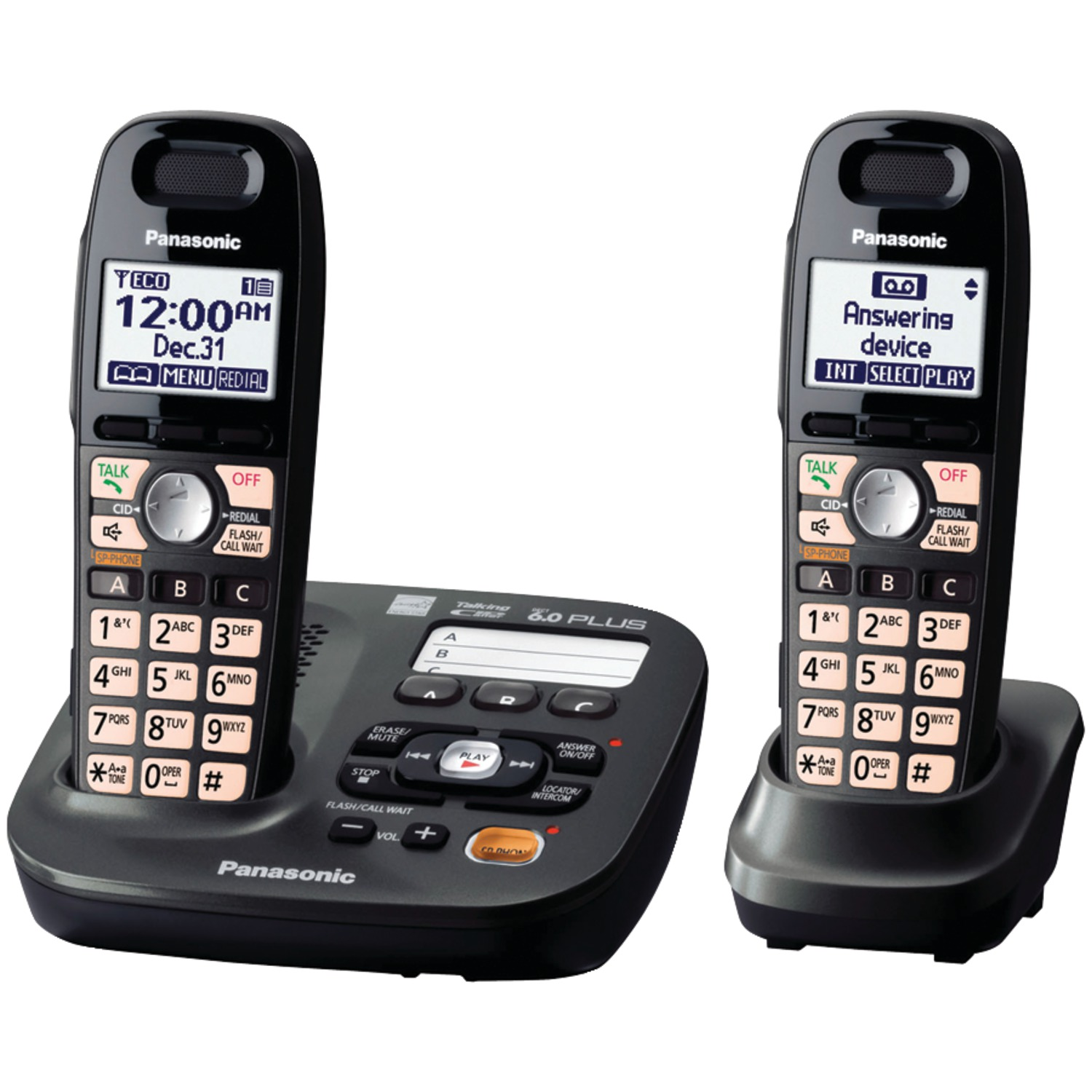 Panasonic 2 Handsets Expandable Cordless Phone with Easy-Read Display