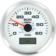 SeaStar Solutions Premier Pro White GPS Speedometer, 60 MPH