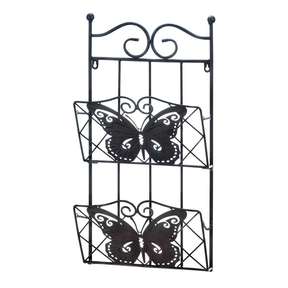 Wall Mail Rack, Butterfly 2-tier Decorative File Folder Magazine Rack Wall Mount by Accent Plus