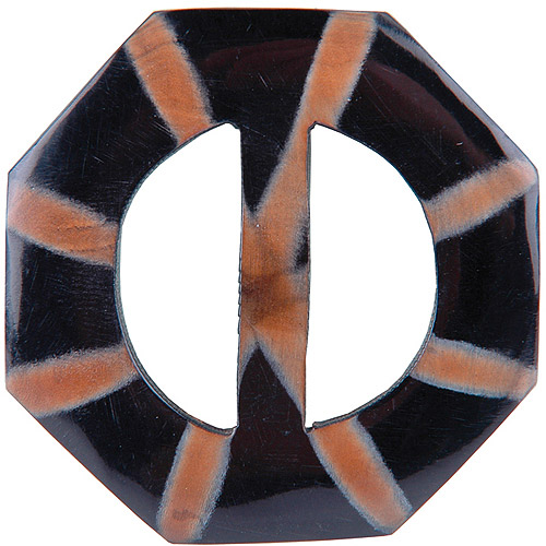 Vision Trims Handmade Horn Buckle-Octagon Multi-Colored