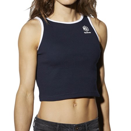 Reebok Athletic Casual Ribbed Women's Tank Top Navy/White bk4118