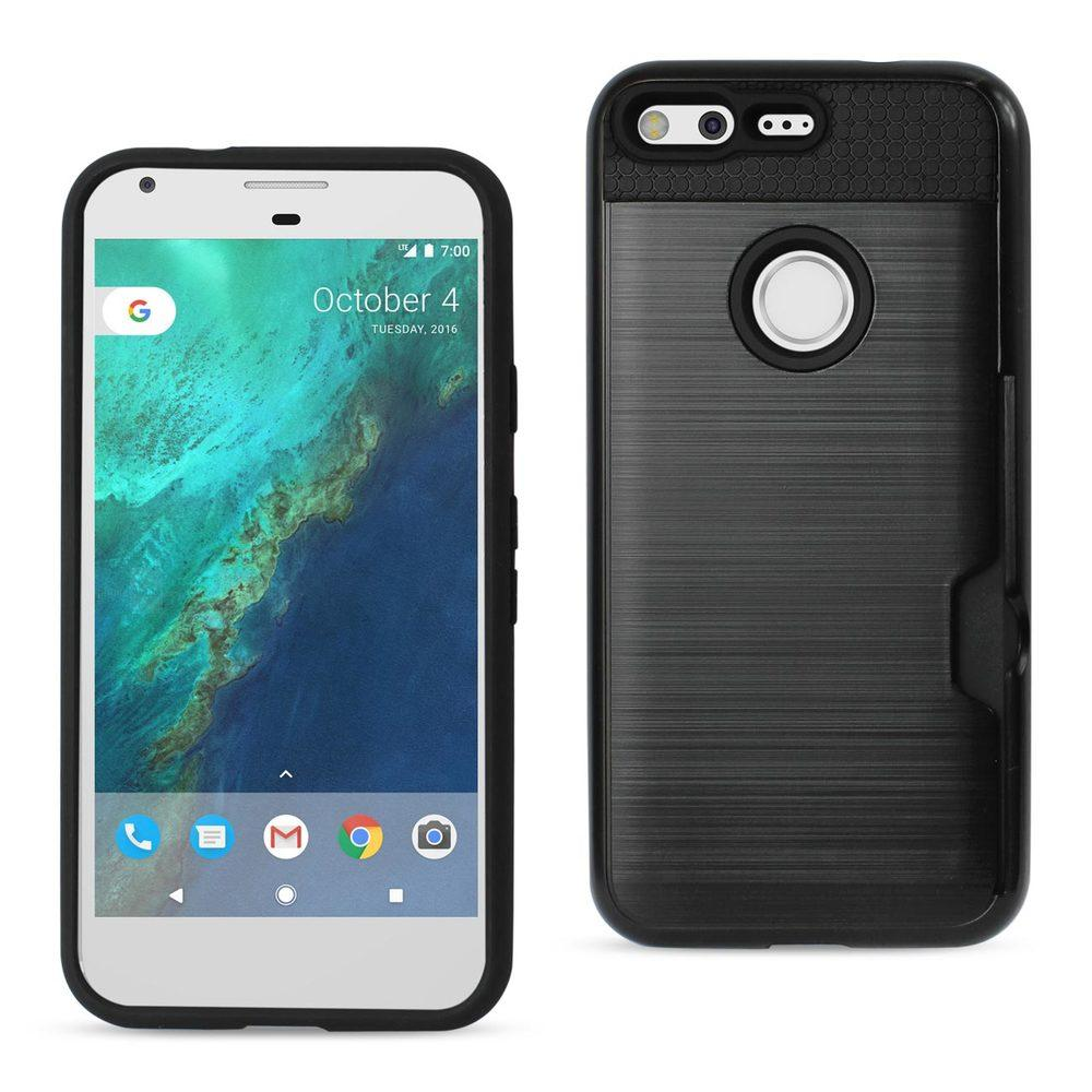 Reiko REIKO GOOGLE PIXEL SLIM ARMOR HYBRID CASE WITH CARD HOLDER IN BLACK