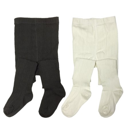 Wrapables® Black and White Thick Winter Cotton Ribbed Tights for Girls (Set of 2), 4-5 Years