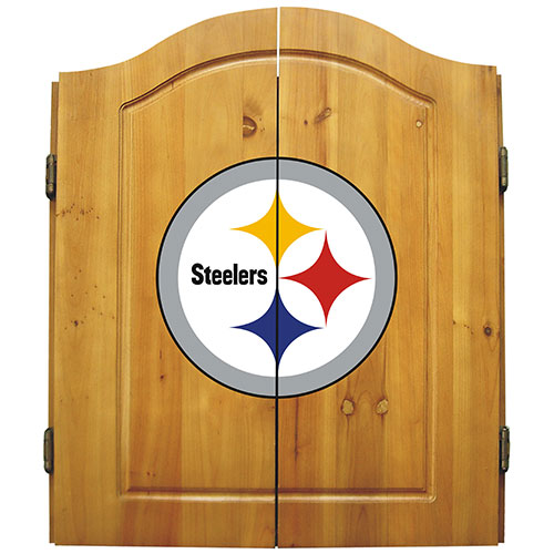 Imperial NFL Pittsburgh Steelers Dart Board Cabinet Set - Classic Style