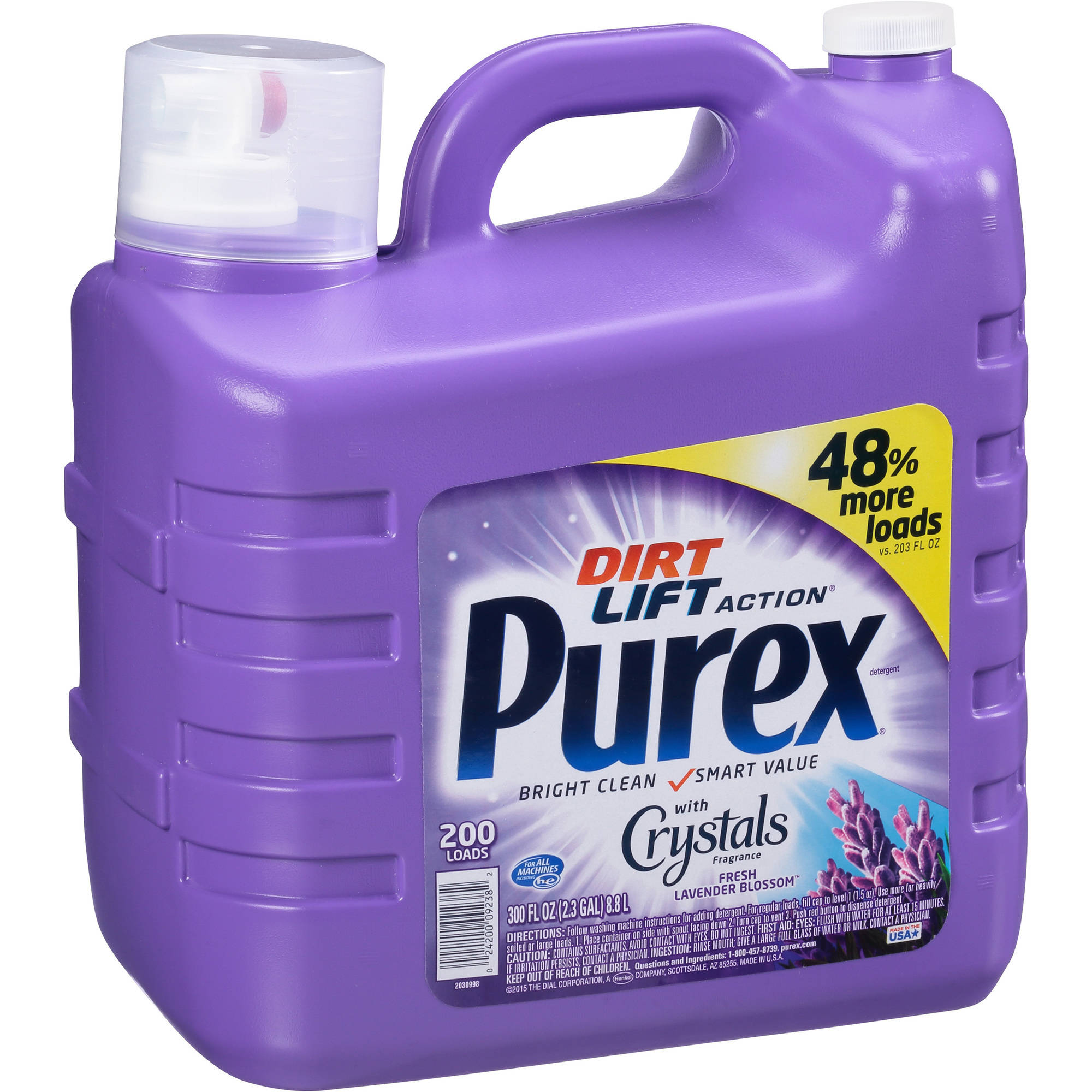 Purex Liquid Laundry Detergent with Crystals Fragrance, Fresh Lavender Blossom, 300 Fluid Ounces, 200 Loads