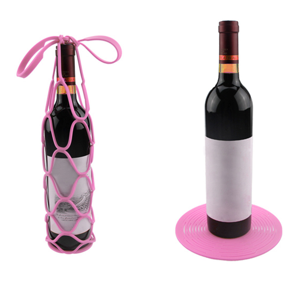DZT1968® Silicone Mesh Bag Basket Insulation Placemat Travel Picnic Wine Bottle Holder