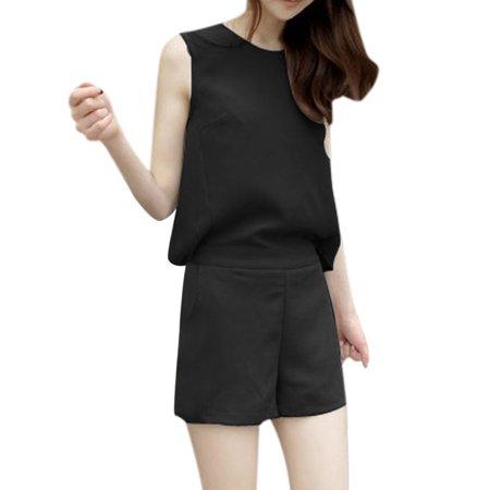 Allegra K Women's Zipper Back Elastic Waist Cut Out Design Romper Jumpsuits (Size XS / 2)