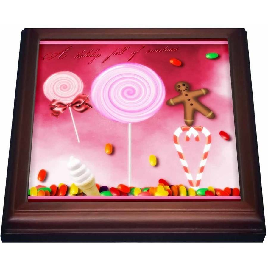 3dRose Holiday Sweets, Candycane, Gingerbread Man, And Lollipops, Trivet with Ceramic Tile, 8 by 8-inch