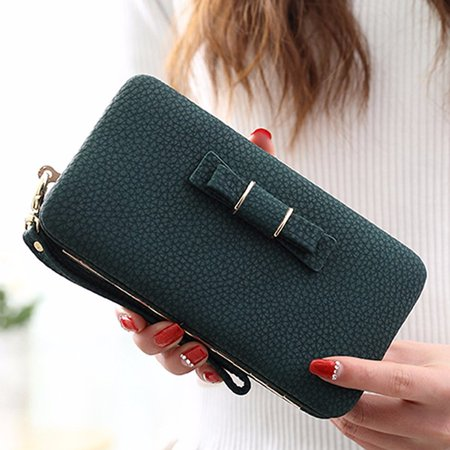 Woman Fashion Functional Butterfly Knot Purse Clutch Bag Phone PU Leather Wallet Cover Card Case For Under 5.5 Inch Cellphone