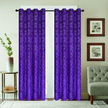 Viola velour grommet curtain panel - -