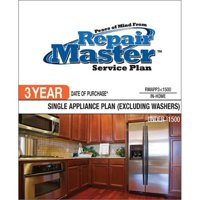 Repair Master RMAPP3 1500 3-Yr Date of Purchase Single Appliance-No Washer - Under $1,500