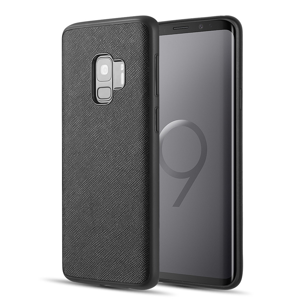 Luxmo Phone Case for Galaxy S9 Saffiano Lite Luxry Tpu Case - Black