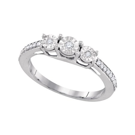 Size - 7 - Solid 925 Sterling Silver Round White Diamond Engagement Ring OR Fashion Band Prong Set 3 Stone Shaped Past present future Ring (1/6 cttw)