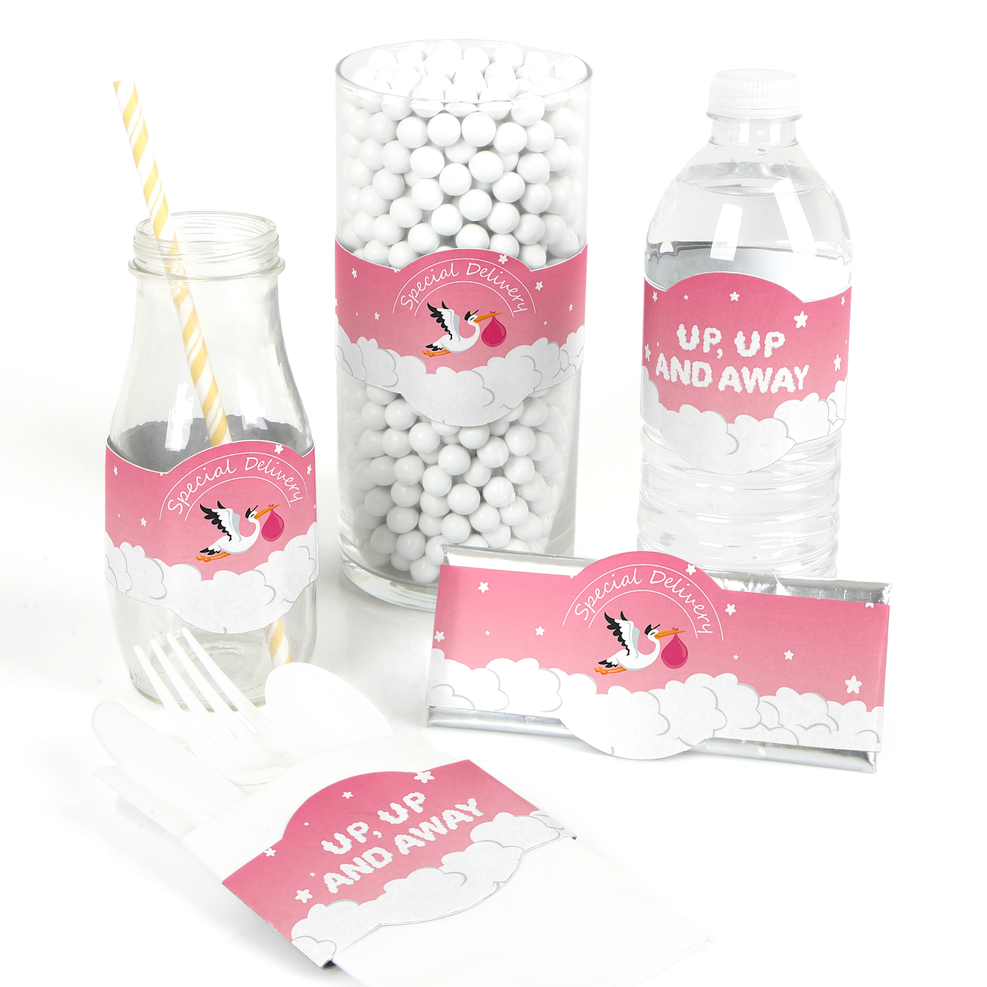 Girl Special Delivery - DIY Party Supplies - Pink Stork Baby Shower ...