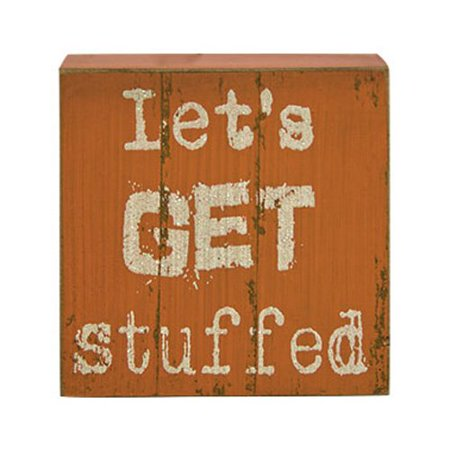 Let 39 s get stuffed wood box sign primitive country rustic for Decor 720 container