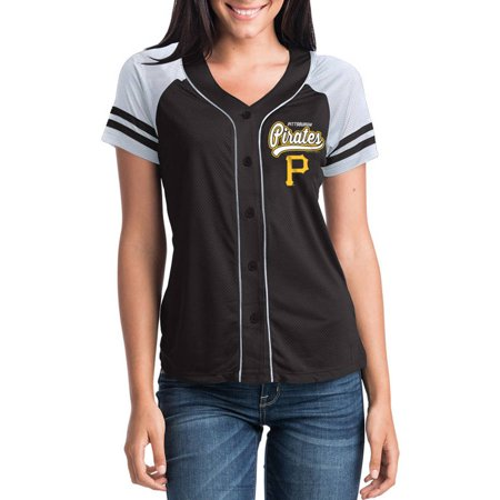 Pirate Skull Baseball Jersey - MLB Pittsburgh Pirates Women's Short Sleeve Button Down Mesh Jersey