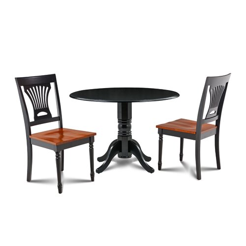 August Grove Hornback 3 Piece Drop Leaf Solid Wood Dining Set