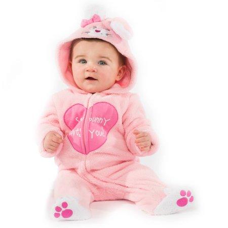 Infant Girls Plush Pink Little Bunny Costume Baby Rabbit Jumper
