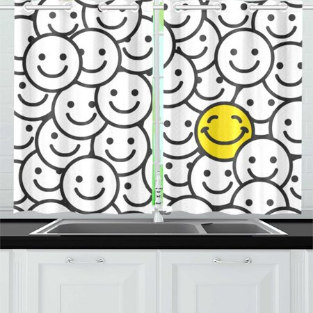 MKHERT Positive Smile Faces Window Curtain Kitchen Curtain 26x39 inch,Two Piece