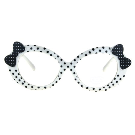 53a5a6e9cbb Kids Size Girls Polka Dot Oval Bow Jewel Trim Plastic Clear Lens Eye  Glasses White Black Dot - Walmart.com