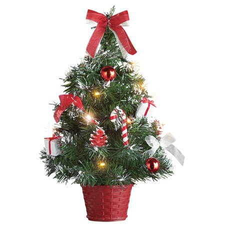 Tabletop Christmas Trees with Lights & Decorations, Red ()