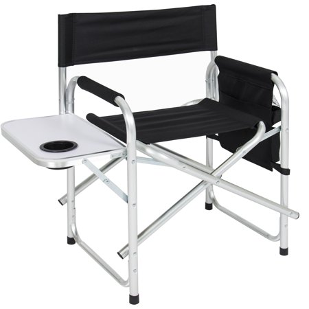 Best Choice Product Folding Aluminum Camping Director's Chair Seat for Picnic, Tailgate, Beach w/ Side Table, Cup Holder, Storage Pouch -