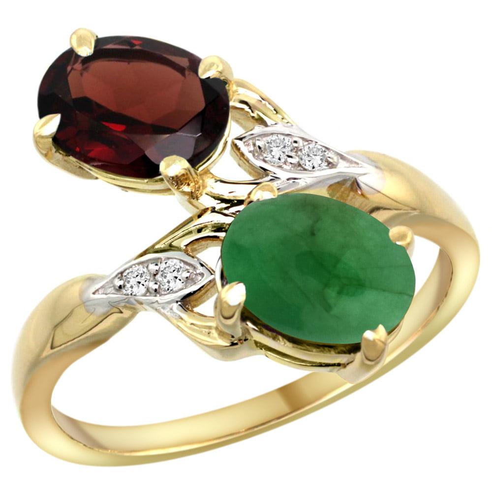 10K Yellow Gold Diamond Natural Garnet & Cabochon Emerald 2-stone Ring Oval 8x6mm, sizes 5 - 10