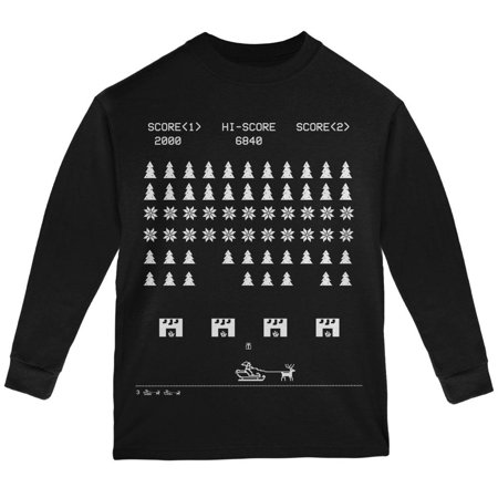 Youth Black Game - Classic Arcade Game Ugly XMAS Sweater Black Youth Long Sleeve T-Shirt