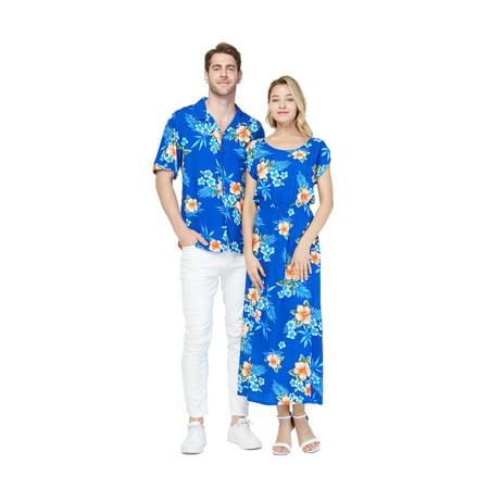 Couple Matching Hawaiian Luau Shirt Cap Sleeve Maxi Dress in Hibiscus Blue Men M Women S Outback Mens Dress