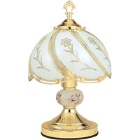 ORE International Floral Touch Lamp, White