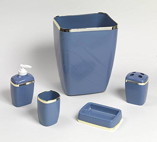 Royal Bath 5-Piece Plastic Bath Accessory Set (Slate Gold) by