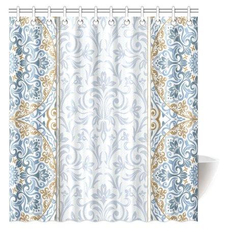 MYPOP Damask Decor Collection, Paisley Pattern Flourish Illustration Modern Simple Monochrome Fashionable Art Shower Curtain Bathroom Decor with Hooks, 66 X 72 Inches ()