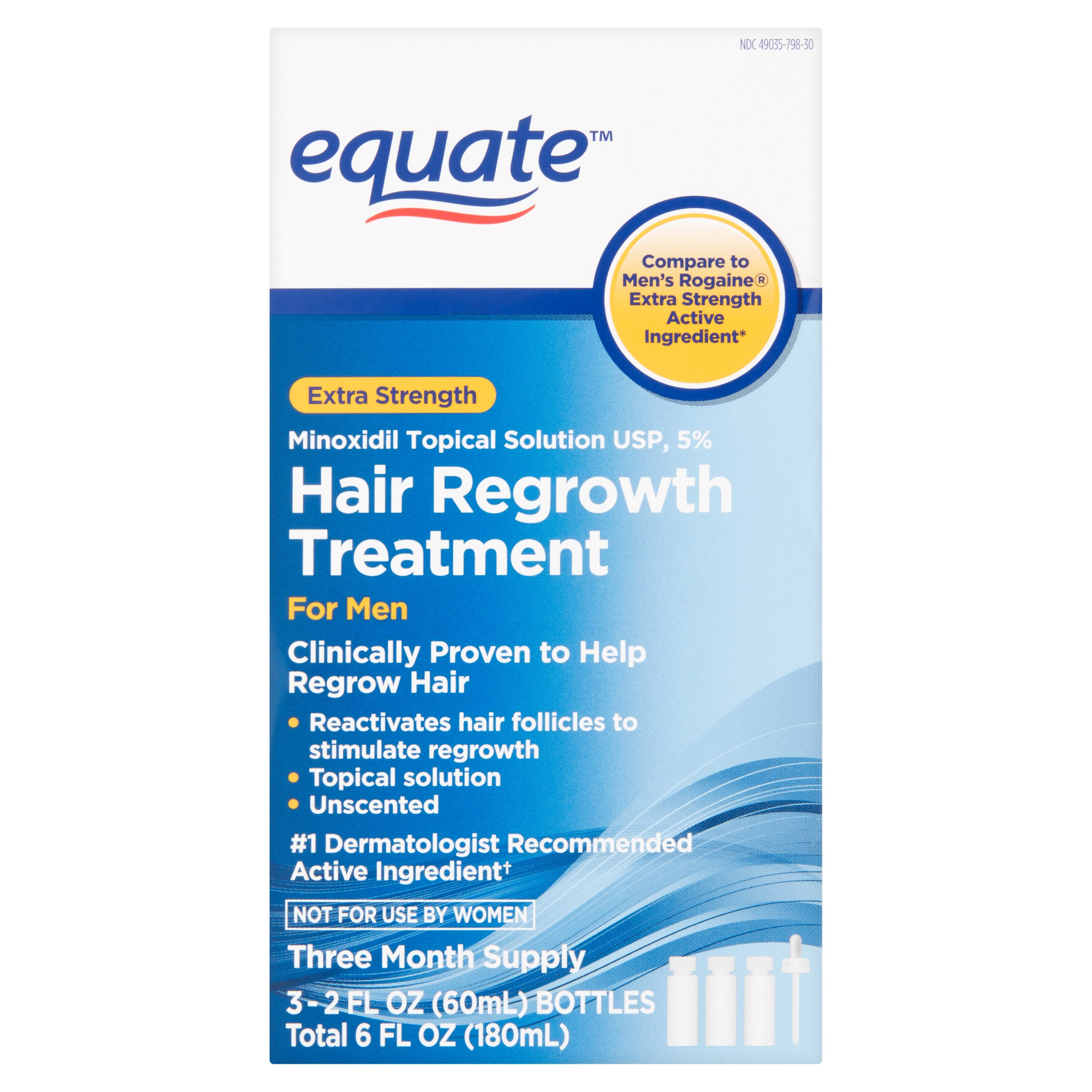 Equate Extra Strength Minoxidil Hair Regrowth Treatment for Men, 2 Oz, 3 Ct