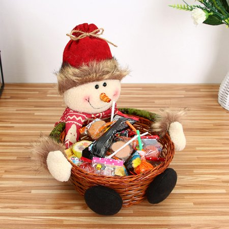 Huppin's Hot Sale Cute Creative Christmas Snowman Candy Storage Basket Decoration Christmas Gift Home Festival Decor