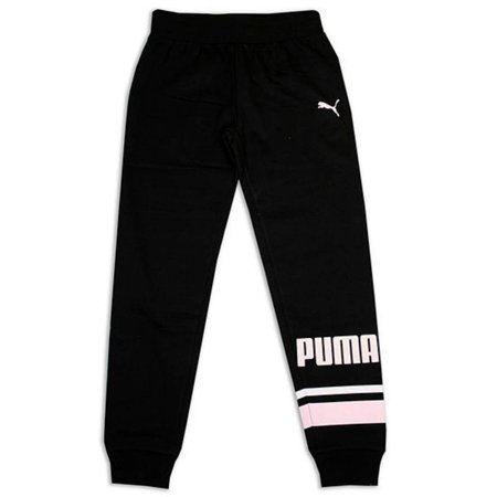 Puma Big Girls Glitter Logo Fleece Jogger Sweat Pants Leggings (Glitter Logo-Black, Large)