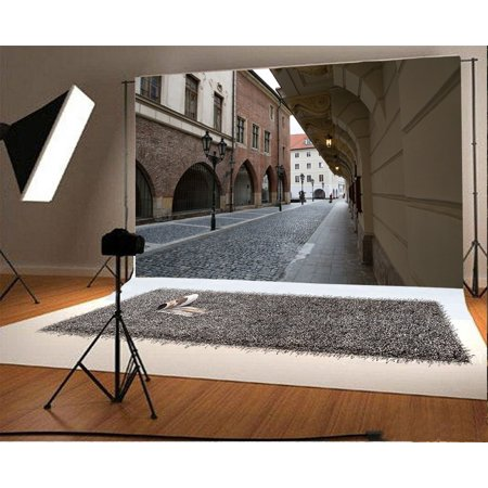 Brick Scene (GreenDecor Polyster 7x5ft Travel Backdrop Street Scene Old European Archiculture City with Pavement Road Lamp Brick Floor Nature Photography Background Kids Adults Photo Studio)