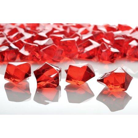 Quasimoon Red Colored Gemstones Acrylic Crystal Wedding Table Confetti Vase Filler (3/4 lb Bag) by (Acrylic Gem)