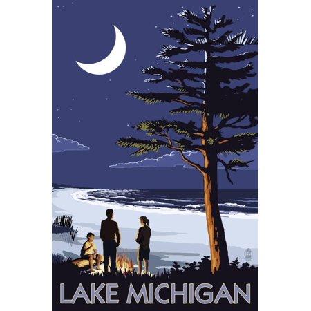 Lake Michigan - Bonfire at Night Scene Landscape Travel Advertisement Print Wall Art By Lantern Press](Bonfire Night Decorations)
