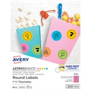"""Avery Round Labels, 1-2/3"""", Assorted Colors, 240 Labels (4330)"""