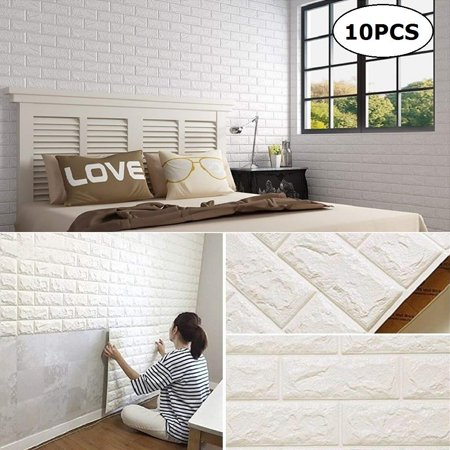 10 Pack Faux Foam Bricks 3D Wall Panels Peel and Stick Wallpaper for Living Room Bedroom Background Wall Decoration